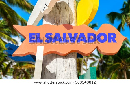 El Salvador sign with palm trees on background - stock photo