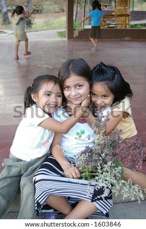 el salvadoran sisters - stock photo