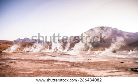 El Tatio geysers , near San Pedro de Atacama, Chile. - stock photo
