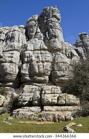 El Torcal Park is known for it's unusual limestone rock formations - stock photo