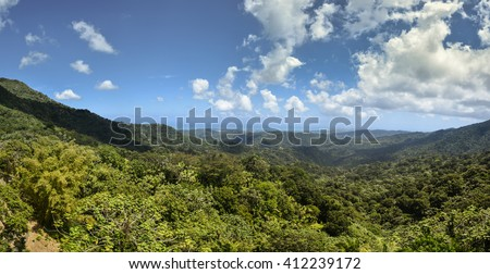 El Yunque rainforest panorama on a sunny day, Puerto Rico - stock photo