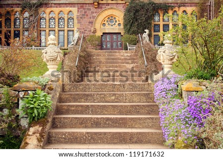Elaborate Garden Stairs Leading to Manor House - stock photo
