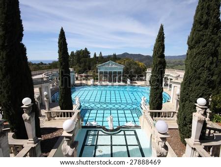 Elaborate pool at Hearst Castle, California - stock photo
