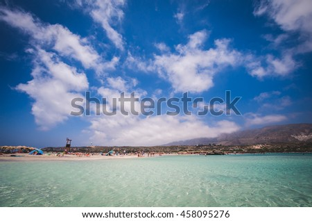 Elafonissi Lagoon, Crete Island, Greece. Elafonisi beach is one of the best beaches of Europe. There are pink and black sand. - stock photo