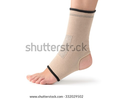 Elastic ankle support isolated on white - stock photo