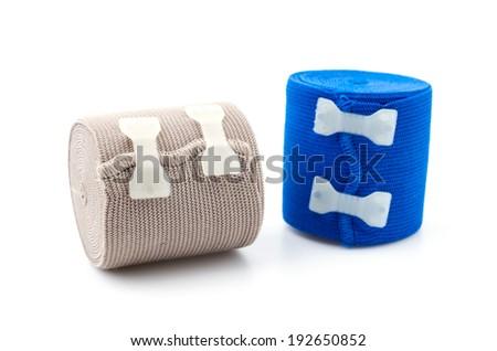 Elastic bandage isolated white background - stock photo