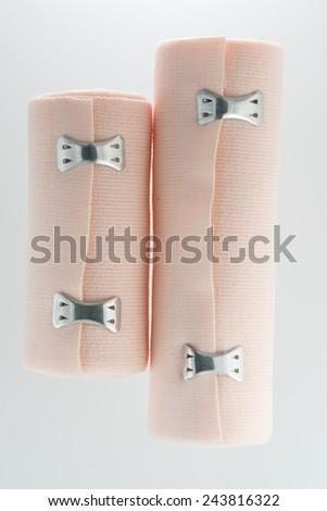 elastic bandages isolated on the white background - stock photo