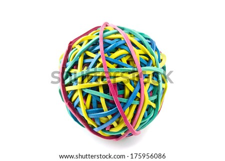 Elastic rubber band ball isolated on white