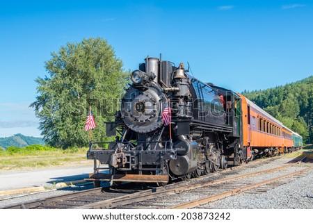 ELBE, WA/USA - JULY 6, 2014: Mt. Rainier Scenic Railroad (MRSR), an American Locomotive Company locomotive originally owned by the Hammond Lumber Company - stock photo