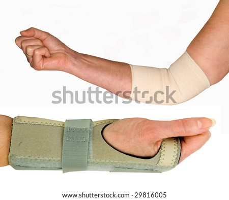 ELBOW AND WRIST SUPPORT ON A WHITE BACKGROUND - stock photo
