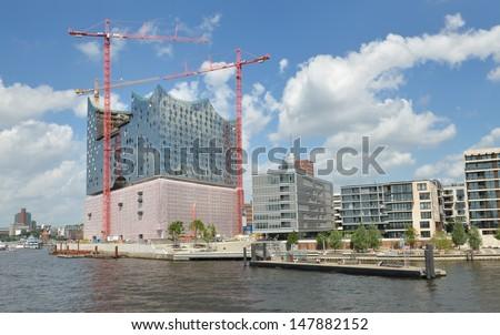 Elbphilharmonie Hamburg (Germany) - Elbe Philharmonic Hall in July 2013 - stock photo