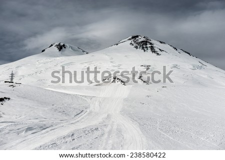 Elbrus in snow. Winter ski resort