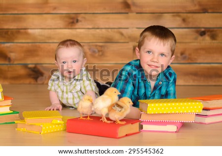 elder and younger little boys with colored books and alive chickens on floor on brown wooden wall background - stock photo