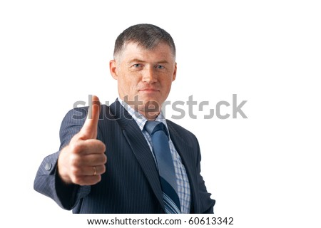 Elder business executive showing OK sign on white background.