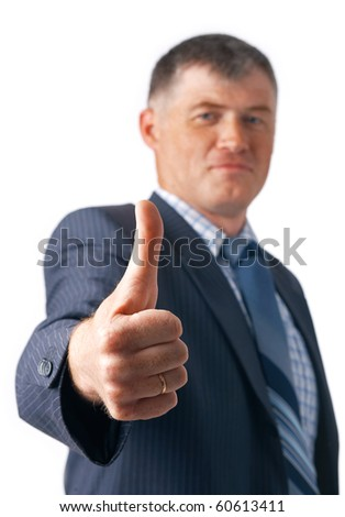 Elder business executive showing OK sign on white background. - stock photo
