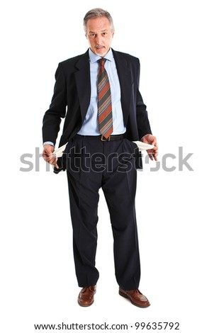 Elder businessman turning out empty pockets isolated on white - stock photo