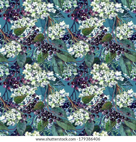 Elder Seamless Pattern - stock photo