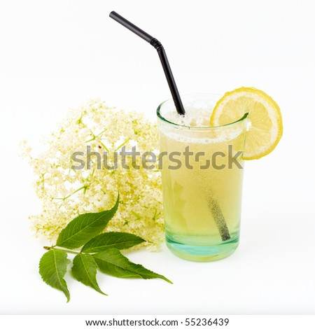 elderberry flower flavored summer refreshment cocktail with sliced lemon - stock photo