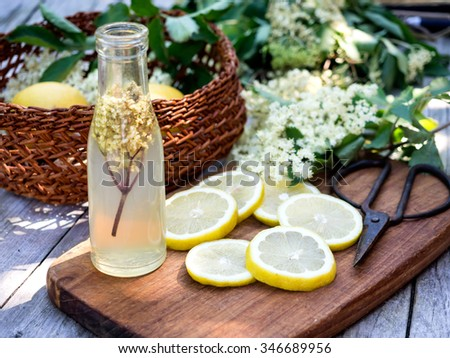 Elderflower juice and all the ingredients