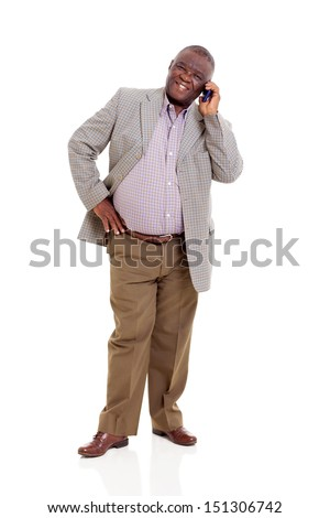 elderly african man talking on mobile phone isolated on white - stock photo
