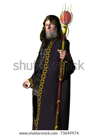 Elderly bearded wizard in hooded robe holding staff