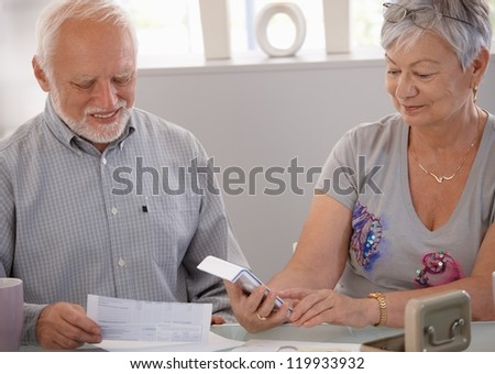 Elderly couple calculating budget, checking bills at home, smiling. - stock photo