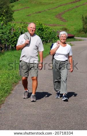 elderly couple walking in through vineyards - stock photo