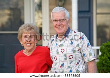 Elderly Couple With Big Smiles - stock photo