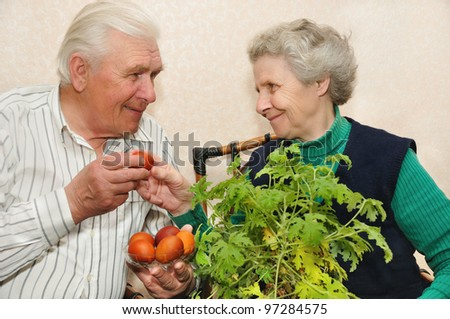 elderly couple with Easter eggs - stock photo