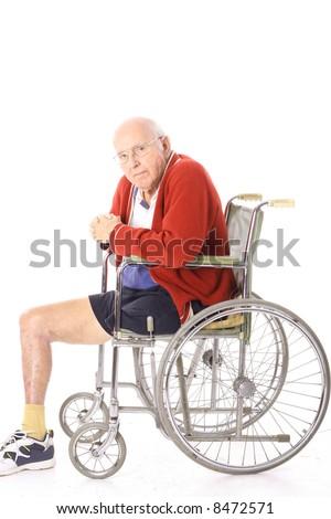 elderly disabled man in wheelchair - stock photo