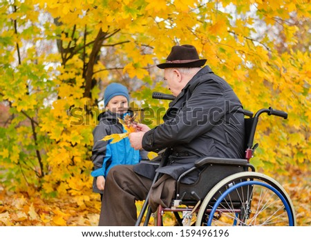 Elderly disabled man sitting in a wheelchair playing with his cute young grandson collecting colourful autumn leaves in the park - stock photo