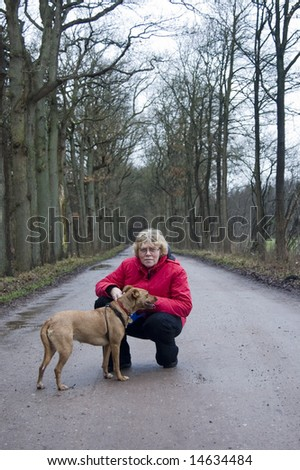 elderly female with her dog