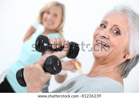 Elderly ladies in gym - stock photo