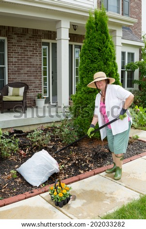 Elderly lady preparing a flowerbed in the front yard for planting raking up leaves and weeds as she prepares to plant her tray of seedlings - stock photo