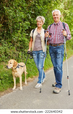 Elderly man and woman hiking and walking with dog in nature - stock photo