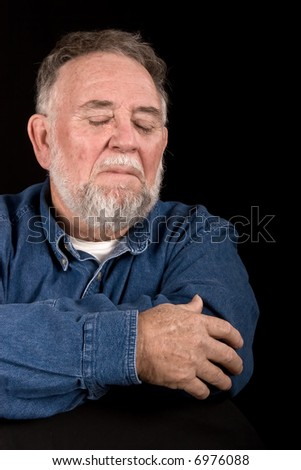 elderly man crying - stock photo