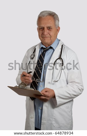Elderly man doctor with grey hair wearing eyeglasses and white lab coat writing on patient chart - stock photo