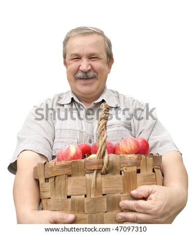 Elderly man, harvesting a apple - isolated over white - stock photo