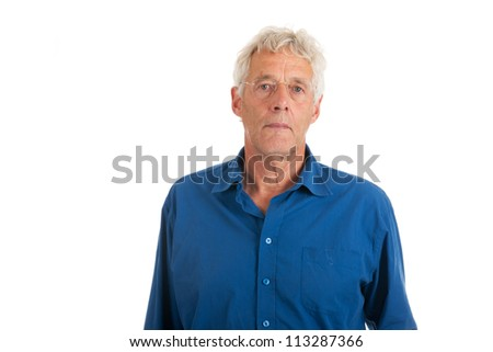 elderly man in studio isolated over white background - stock photo