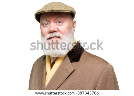 Elderly man is posing on white background, color and contrast manipulated - stock photo