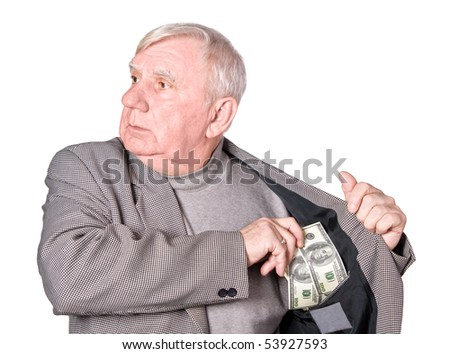 Elderly man puts money in an internal pocket of a jacket. It is isolated on a white background - stock photo
