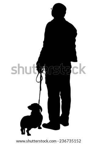 Elderly man with a dog on a white background - stock photo