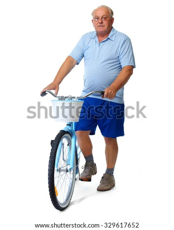 Elderly man with bicycle. Health and sport concept. - stock photo