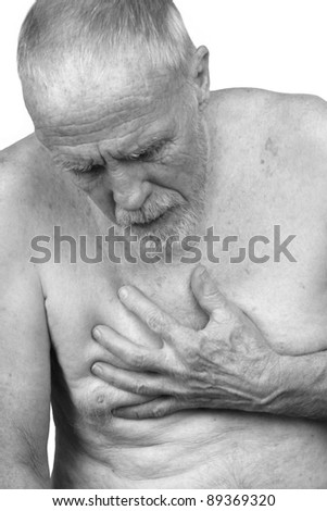 Elderly Man with Chest Pain - stock photo