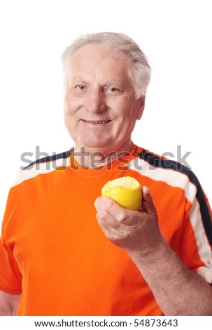 elderly men with apple - stock photo