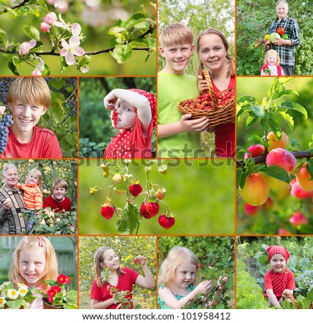 elderly men with children in garden - stock photo