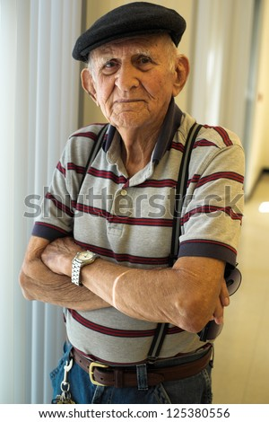 Elderly 80 plus year old man portrait. - stock photo