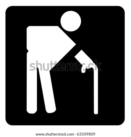 Elderly sign on black - stock photo