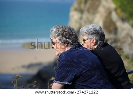 Elderly twin sisters look at the ocean - stock photo