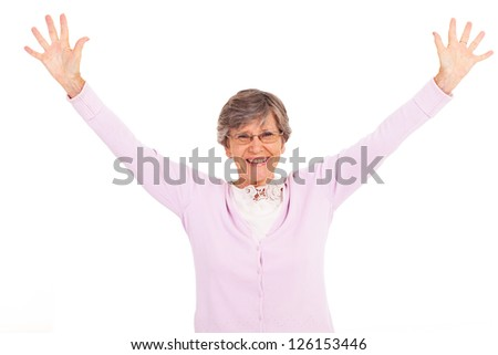 elderly woman arms open isolated on white - stock photo